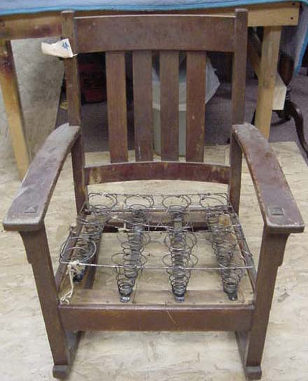 Oak Mission Style Rocking Chair as it came into our shop less seat  upholstry. - AHM Mission Rocker Restoration